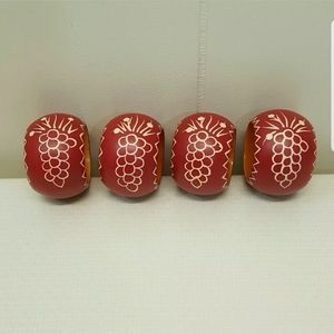 4 Napkin Rings Wooden Red Painted Grapes Decor